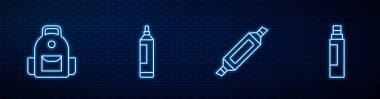 Set line Marker pen, School backpack,  and . Glowing neon icon on brick wall. Vector icon