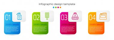 Set line Paint spray gun, Spray can nozzle cap, School backpack and Paint, gouache, jar, dye. Business infographic template. Vector icon