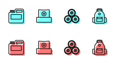 Set line Paint spray can, Paint, gouache, jar, dye, Spray nozzle cap and School backpack icon. Vector icon