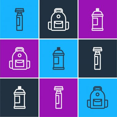 Set line Marker pen, Paint spray can and School backpack icon. Vector icon