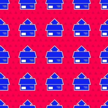 Blue Carton cardboard box icon isolated seamless pattern on red background. Box, package, parcel sign. Delivery and packaging.  Vector Illustration. icon
