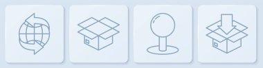 Set line Worldwide, Push pin, Carton cardboard box and Cardboard box with traffic symbol. White square button. Vector. icon