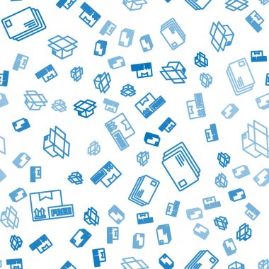 Set line Cardboard box with free symbol, Envelope and Carton cardboard box on seamless pattern. Vector. icon