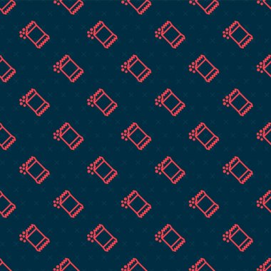 Red line Packet of pepper icon isolated seamless pattern on black background.  Vector. icon