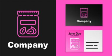 Pink line Pack full of seeds of a specific plant icon isolated on black background. Logo design template element. Vector. icon