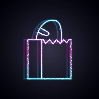 Glowing neon line Paper bag with bread loaf icon isolated on black background.  Vector. icon
