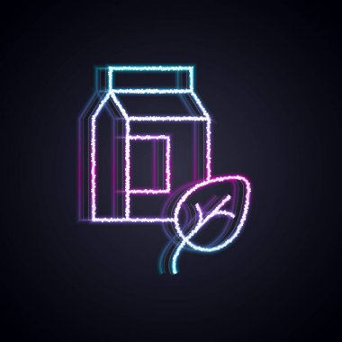 Glowing neon line Vegan milk icon isolated Glowing neon line background. Vegetarian product.  Vector. icon
