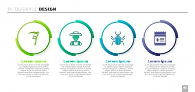 Set Scythe, Farmer in hat, Insect fly and Pack full of seeds of plant. Business infographic template. Vector icon