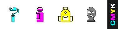 Set Paint roller brush, Paint, gouache, jar, dye, School backpack and Balaclava icon. Vector icon