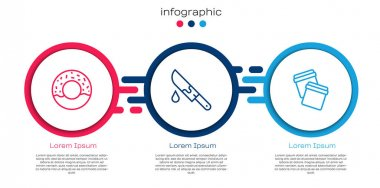Set line Donut, Bloody knife and Plastic bag with ziplock. Business infographic template. Vector icon