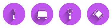 Set Knife, Toaster, Spatula and Packet of pepper icon with long shadow. Vector icon
