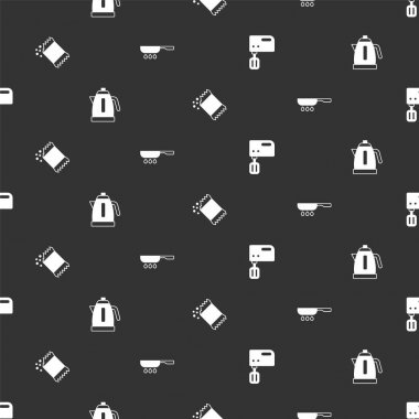Set Electric mixer, kettle, Packet of pepper and Frying pan on seamless pattern. Vector icon
