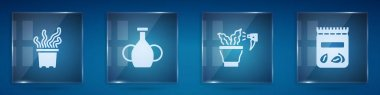 Set Exotic tropical plant in pot, Vase, Spraying and Pack full of seeds of. Square glass panels. Vector icon