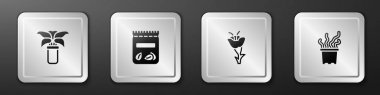 Set Exotic tropical plant in pot, Pack full of seeds of, Flower and  icon. Silver square button. Vector icon