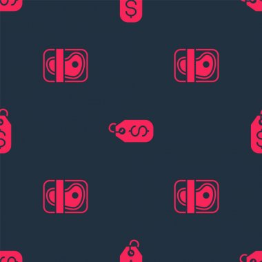 Set Meat packaging steak and Price tag with dollar on seamless pattern. Vector icon