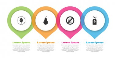 Set Leaf or leaves, Pear, No pack of milk and Organic cosmetic. Business infographic template. Vector icon