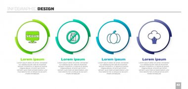Set Vegan food diet, No pack of milk, Pumpkin and Broccoli. Business infographic template. Vector icon