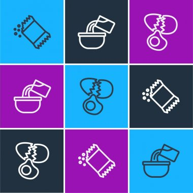 Set line Packet of pepper, Broken egg and Saucepan icon. Vector icon