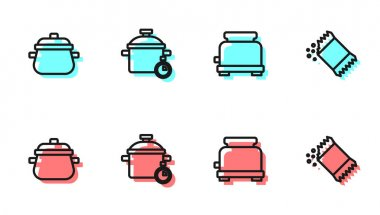 Set line Toaster, Cooking pot,  and Packet of pepper icon. Vector icon
