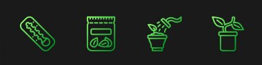 Set line Spraying plant, Meteorology thermometer, Pack full of seeds of and Plant pot. Gradient color icons. Vector icon