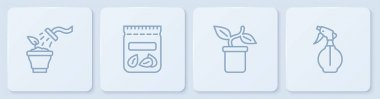 Set line Spraying plant, Plant pot, Pack full of seeds of and Water spray bottle. White square button. Vector icon