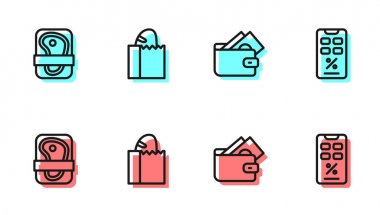 Set line Wallet with money, Meat packaging steak, Paper bag bread loaf and Percent discount and mobile icon. Vector icon