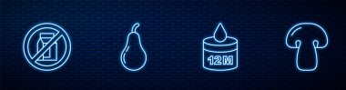 Set line Organic cosmetic, No pack of milk, Pear and Mushroom. Glowing neon icon on brick wall. Vector icon