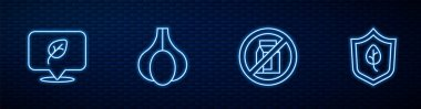 Set line No pack of milk, Vegan food diet, Garlic and . Glowing neon icon on brick wall. Vector icon