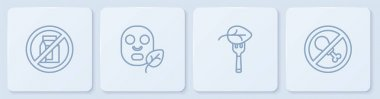 Set line No pack of milk, Vegan food diet, Facial cosmetic mask and meat. White square button. Vector icon