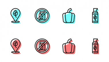 Set line Bell pepper, Vegan food diet, No pack of milk and Organic cosmetic icon. Vector icon