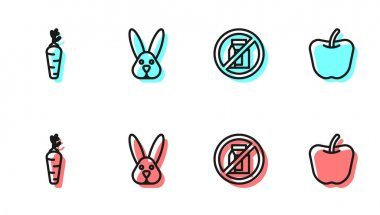 Set line No pack of milk, Carrot, Animal cruelty free and Apple icon. Vector icon