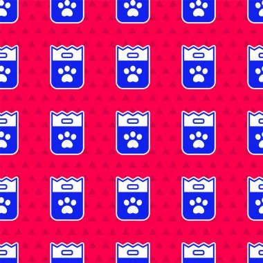 Blue Bag of food for dog icon isolated seamless pattern on red background. Dog or cat paw print. Food for animals. Pet food package.  Vector. icon