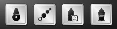 Set Dildo vibrator, Anal beads, Condom and Condom safe sex icon. Silver square button. Vector. icon