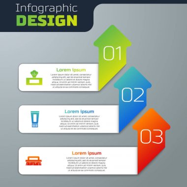 Set Wet wipe pack, Tube of toothpaste and Brush for cleaning. Business infographic template. Vector. icon