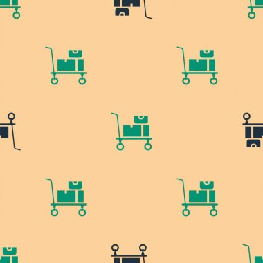 Green and black Hand truck and boxes icon isolated seamless pattern on beige background. Dolly symbol.  Vector. icon