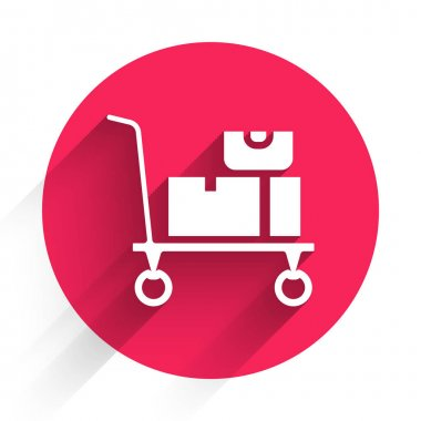 White Hand truck and boxes icon isolated with long shadow. Dolly symbol. Red circle button. Vector. icon