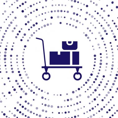 Blue Hand truck and boxes icon isolated on white background. Dolly symbol. Abstract circle random dots. Vector. icon