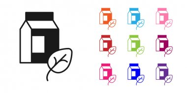 Black Vegan milk icon isolated Black background. Vegetarian product. Set icons colorful. Vector. icon