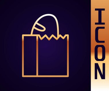 Gold line Paper bag with bread loaf icon isolated on black background.  Vector. icon