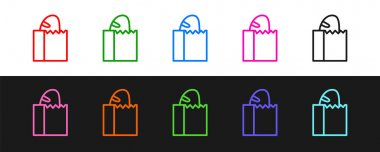 Set line Paper bag with bread loaf icon isolated on black and white background.  Vector. icon