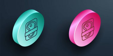 Isometric line Meat packaging steak icon isolated on black background. Fresh meat beef steak in plastic package. Organic product. Turquoise and pink circle button. Vector. icon