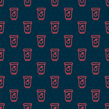 Red line Yogurt container icon isolated seamless pattern on black background. Yogurt in plastic cup.  Vector. icon