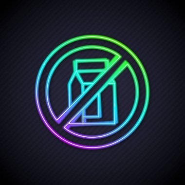 Glowing neon line No pack of milk icon isolated Glowing neon line background. Not allow milk. Allergy concept, lactose intolerance allergy warning sign.  Vector. icon