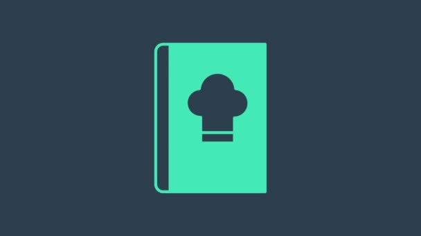 Turquoise Cookbook icon isolated on blue background. Cooking book icon. Recipe book. Fork and knife icons. Cutlery symbol. 4K Video motion graphic animation