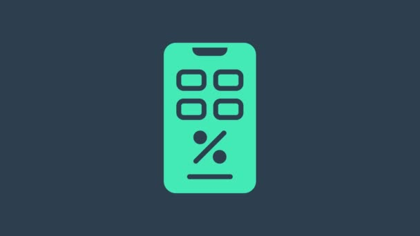 Turquoise Percent discount and mobile phone icon isolated on blue background. Sale percentage - price label, tag. 4K Video motion graphic animation