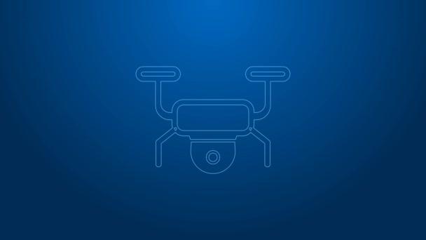 Weiße Linie Drohne fliegen Symbol isoliert auf blauem Hintergrund. Quadrocopter mit Video- und Fotokamerasystem. 4K Video Motion Grafik Animation