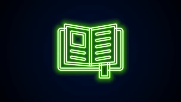Glowing neon line Reading book icon isolated on black background. 4K Video motion graphic animation