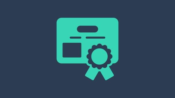 Türkiz tanúsítvány sablon ikon elszigetelt kék alapon. Teljesítmény, díj, diploma, támogatás, diploma fogalmak. 4K Videó mozgás grafikus animáció