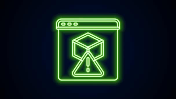 Zářící neonový řádek 3D tiskárna ikona izolovaná na černém pozadí. 3D tisk. Grafická animace pohybu videa 4K
