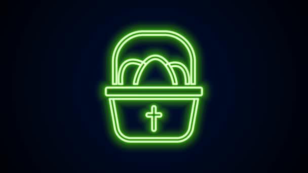 Leuchtende Neon-Linie Korb mit Ostereiern Symbol isoliert auf schwarzem Hintergrund. Frohe Ostern. 4K Video Motion Grafik Animation